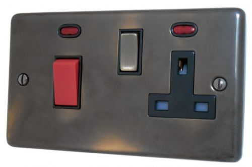 G&H CAN329 Standard Plate Polished Aged Brass 45 Amp DP Cooker Switch & 13A Switched Socket
